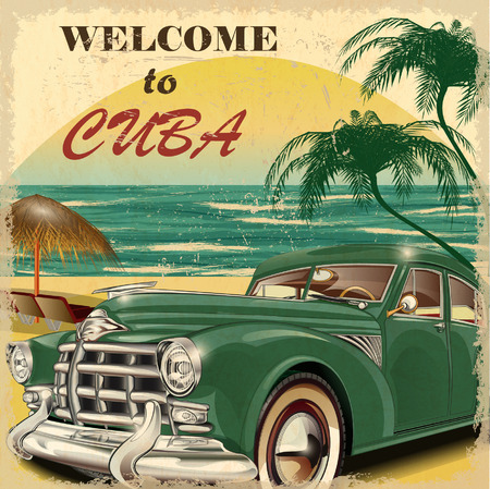 Photo for Welcome to Cuba retro poster. - Royalty Free Image