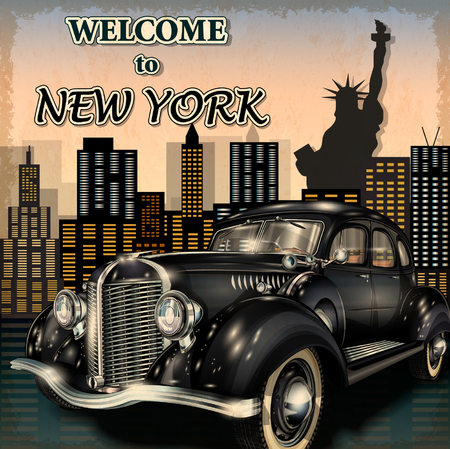 Illustration pour Welcome to New York retro poster. - image libre de droit