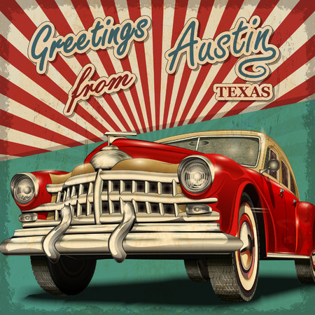 Ilustración de Vintage touristic greeting card with retro car.Austin.Texas. - Imagen libre de derechos