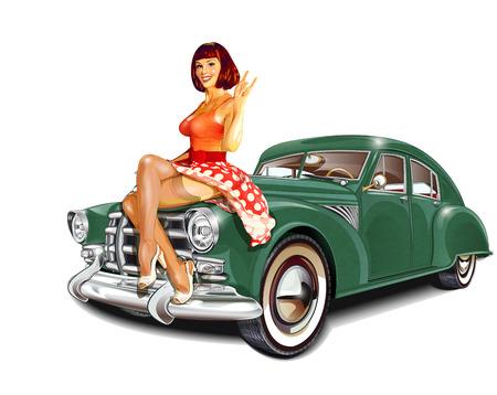 Ilustración de Pin-up girl and retro car isolated on white background - Imagen libre de derechos