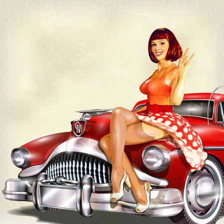 Foto de Vintage background with pin-up girl and retro car. - Imagen libre de derechos