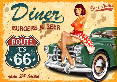 Photo for Diner route 66 vintage poster - Royalty Free Image