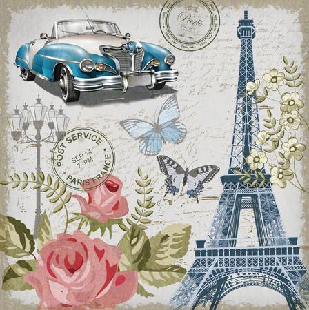 Ilustración de Paris vintage postcard. - Imagen libre de derechos