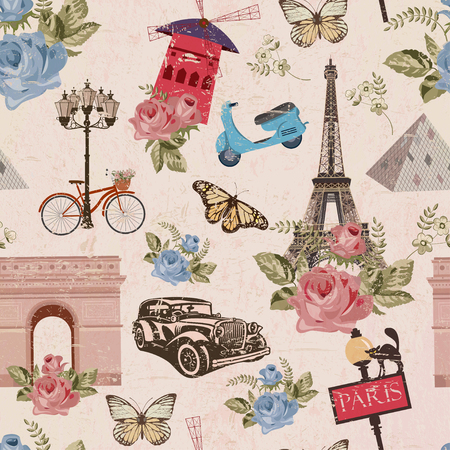 Illustration pour Seamless Paris travel wallpaper.Vintage background. - image libre de droit