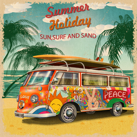 Illustration pour Summer holidays poster with retro bus - image libre de droit