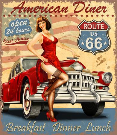 Illustration pour Diner route 66 vintage poster - image libre de droit