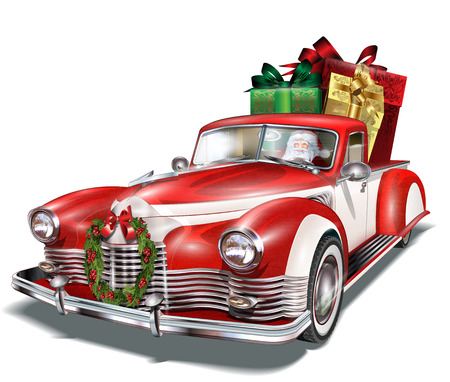 Illustration pour Pickup truck with gift box in the trunk. - image libre de droit