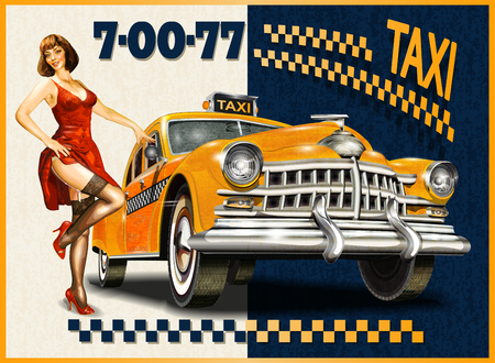 Illustration pour Taxi card with Pin-up girl and retro yellow taxi. - image libre de droit
