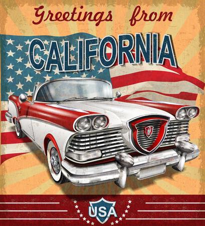 Illustration pour Vintage touristic greeting card with retro car.California. - image libre de droit