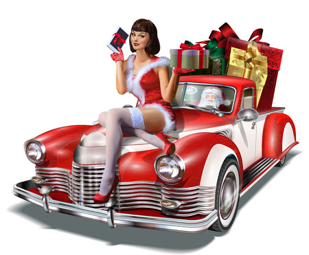 Illustration pour Christmas pin-up girl with gift box in hands  while sitting on retro car. - image libre de droit