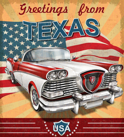 Illustration pour Vintage touristic greeting card with retro car.Texas - image libre de droit