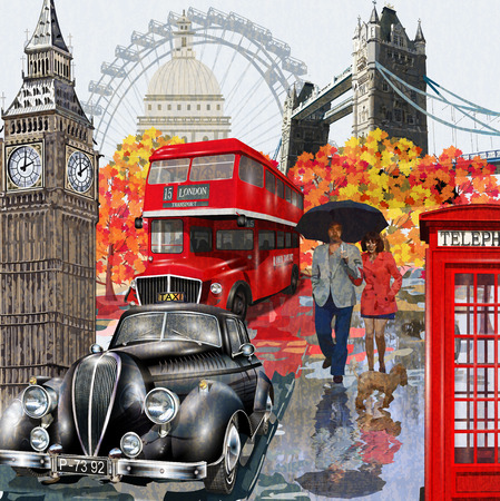 Illustration pour London vintage poster. - image libre de droit