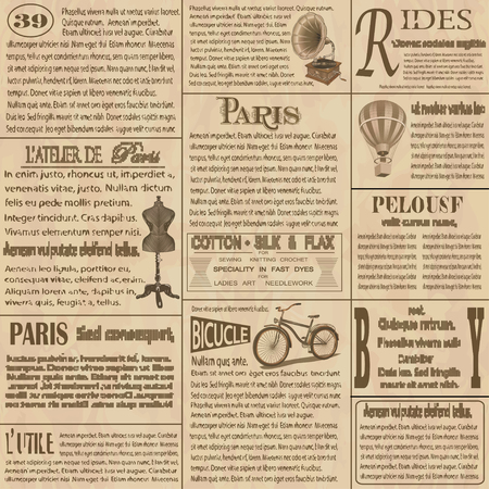 Illustration for Old newspaper  french background. - Royalty Free Image