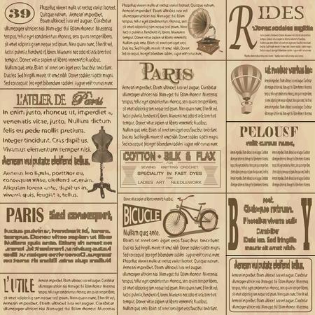Ilustración de Old newspaper  french background. - Imagen libre de derechos