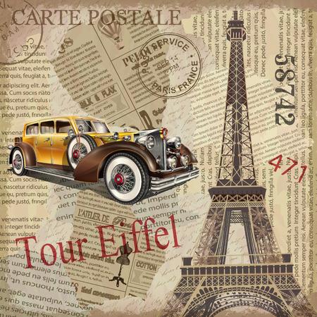 Ilustración de Vintage poster Paris torn newspaper background. - Imagen libre de derechos