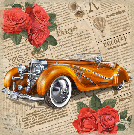 Illustration pour Retro car on vintage newspaper background. - image libre de droit