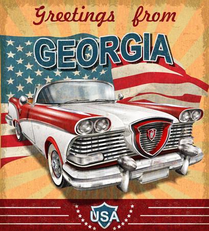 Illustration pour Vintage touristic greeting card with retro car.Georgia. - image libre de droit