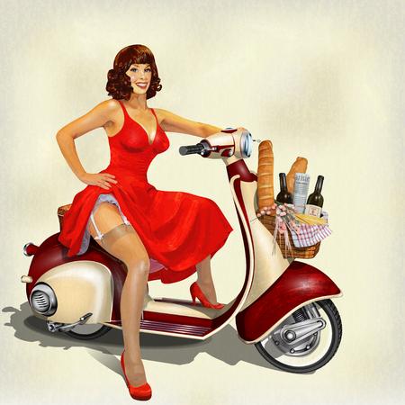 Ilustración de Old scooter with  basket of food for  weekend and pin-up girl. - Imagen libre de derechos