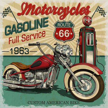 Ilustración de Vintage gasoline route 66 poster.Vector classic motorcycles. - Imagen libre de derechos