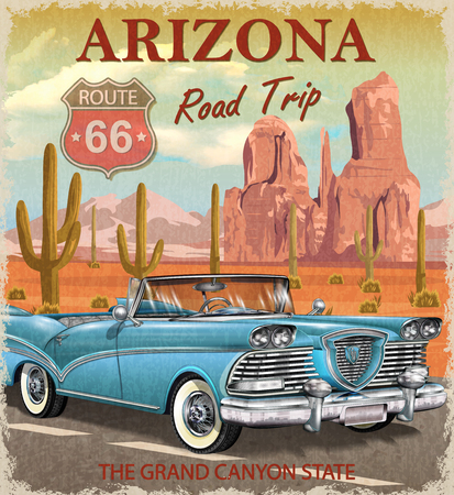 Photo pour Vintage Arizona road trip poster. - image libre de droit