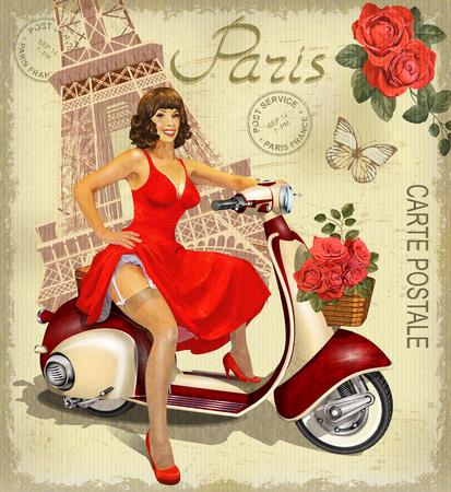 Ilustración de Vintage poster Paris. - Imagen libre de derechos