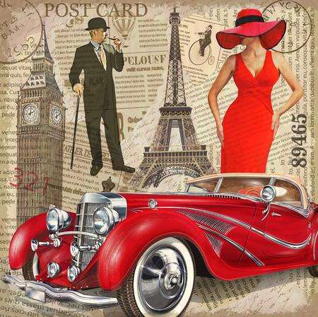 Ilustración de Vintage poster Paris,London torn newspaper background. - Imagen libre de derechos