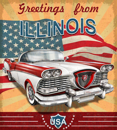 Illustration pour Vintage touristic greeting card with retro car.Illinois. - image libre de droit