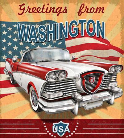 Illustration pour Vintage touristic greeting card with retro car.Washington. - image libre de droit