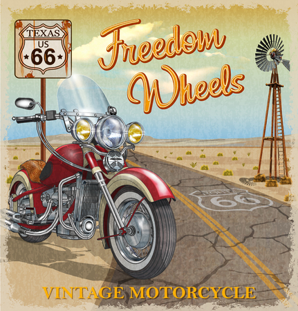 Illustration for Vintage Route 66 Texas motorcycle poster. - Royalty Free Image