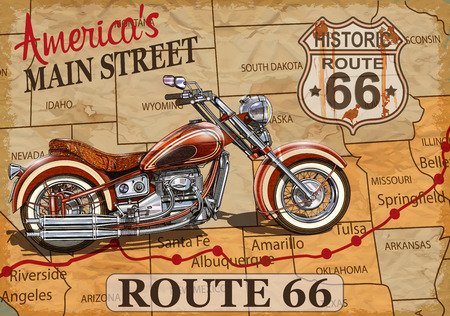 Illustration pour Vintage Route 66  motorcycle poster. - image libre de droit
