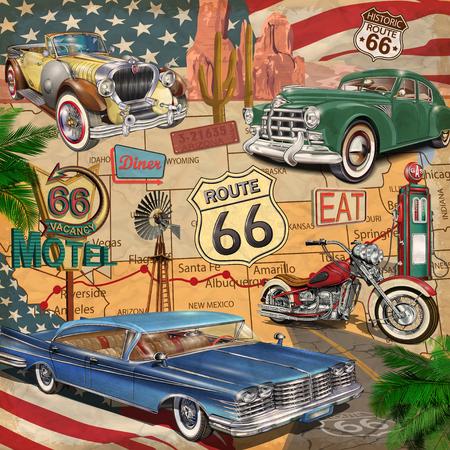 Photo pour Vintage Route 66  poster. - image libre de droit