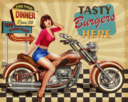 Ilustración de Diner  vintage poster - Imagen libre de derechos