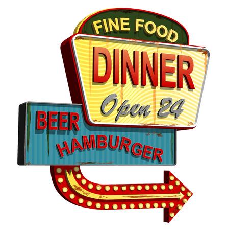 Ilustración de Diner old signage,vintage metal sign. - Imagen libre de derechos