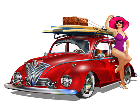 Photo for Vintage car with pin-up girl and surfboards. - Royalty Free Image