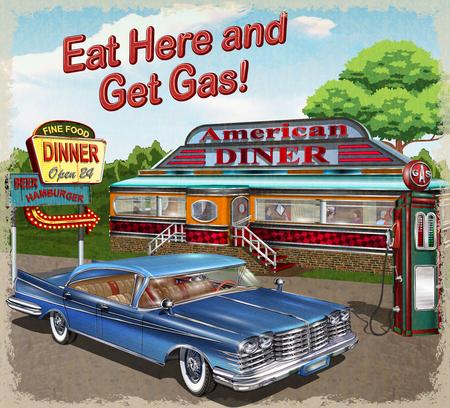 Illustration pour Diner vintage poster. - image libre de droit