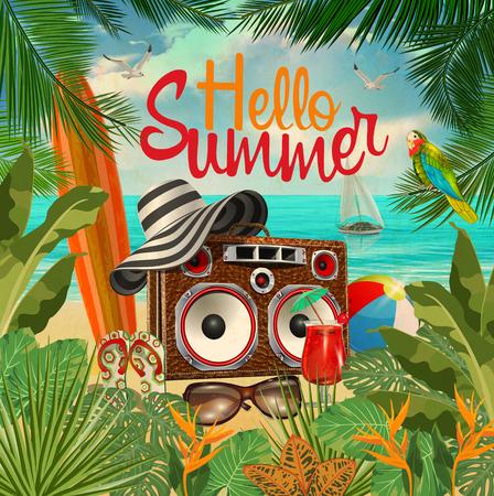 Ilustración de Summer tropical poster with tropical plants,tape recorder,surfboard, - Imagen libre de derechos