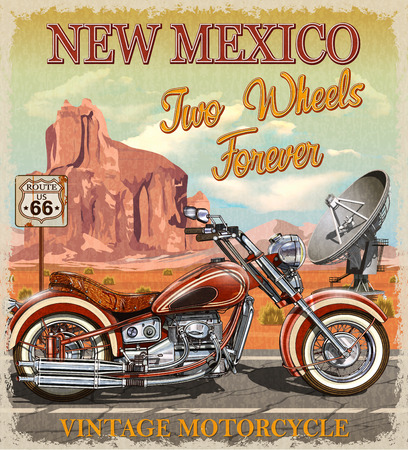 Illustration for Vintage Route 66 New Mexico motorcycle poster. - Royalty Free Image