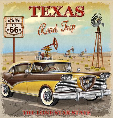 Illustration pour Vintage Texas road trip poster. - image libre de droit