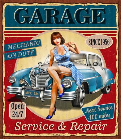 Ilustración de Vintage garage retro poster - Imagen libre de derechos