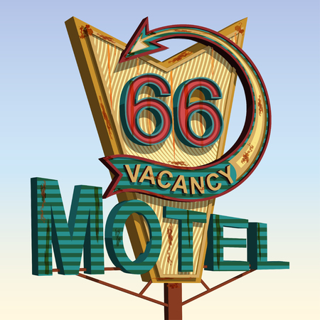 Illustration pour Motel old signage,vintage metal sign. - image libre de droit