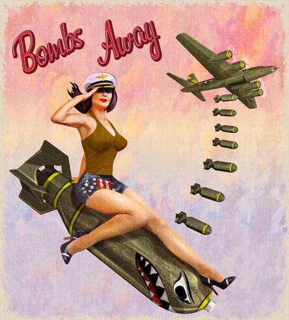 Ilustración de Retro pin-up girl sitting on the bomb. - Imagen libre de derechos