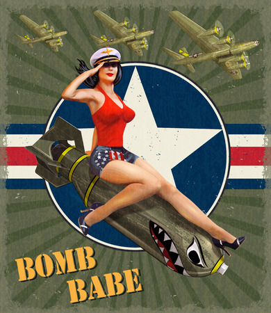 Illustration for Vintage poster with pin-up girl on bomb. - Royalty Free Image