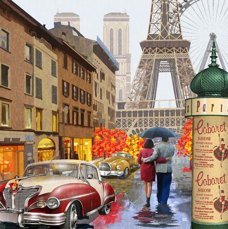 Ilustración de Rainy Paris vintage poster. - Imagen libre de derechos