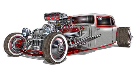 Ilustración de Vintage Hot Rod. - Imagen libre de derechos
