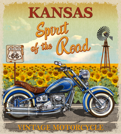 Illustration pour Vintage Route 66 Kansas motorcycle poster. - image libre de droit