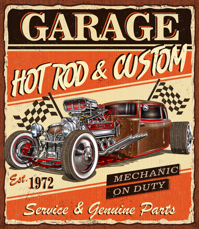 Photo pour Vintage Hot Rod garage poster. - image libre de droit