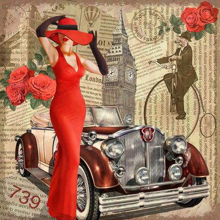 Ilustración de Vintage poster London torn newspaper background. - Imagen libre de derechos