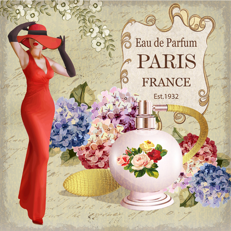 Ilustración de Vintage poster with beautiful young woman and  bottle of perfume. - Imagen libre de derechos