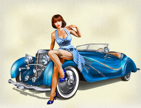 Illustration pour Vintage background with pin-up girl and retro car. - image libre de droit