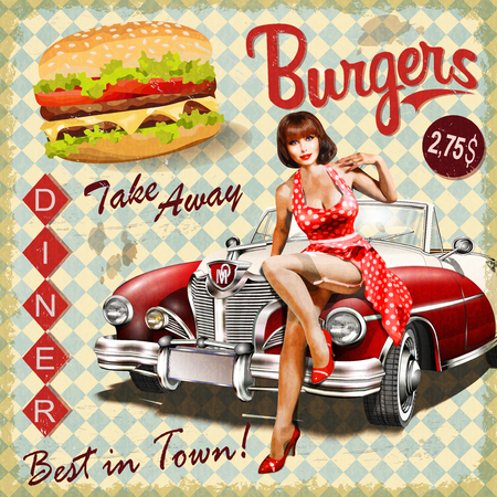 Photo for Burger vintage poster with pin-up girl and retro car. - Royalty Free Image